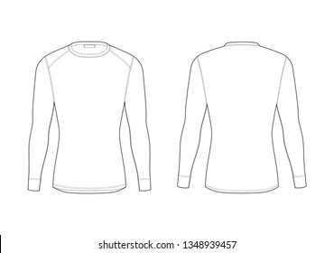 Men winter thermal underwear. Blank templates of long sleeve t-shirt. Isolated male sport rash guard apparel. Front and back views. Sample technical illustration.