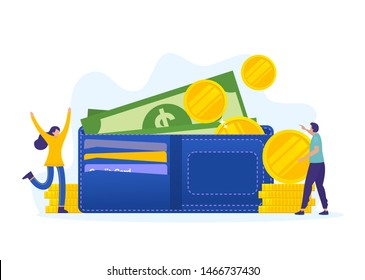 men and woman with big wallet and stack of coin, online payment, e transfer digital wallet vector illustration concept, can use for, landing page, template, ui, web, homepage, poster, banner, flyer