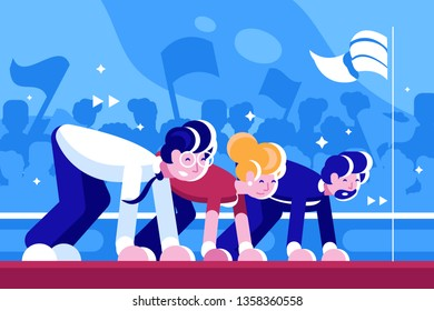Men and woman on low start vector illustration. Business people in suits getting ready to beginning the race flat style design. Biz leadership and teamwork concept