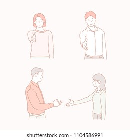 Men and women asking for a handshake. hand drawn style vector doodle design illustrations.
