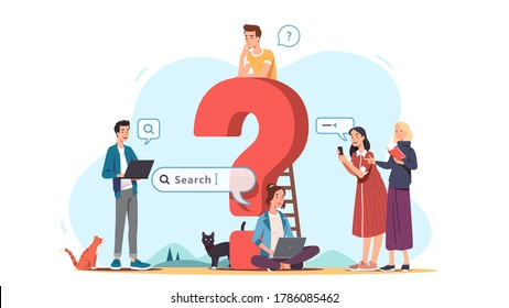 Men & women asking questions, discussing, searching for answers, ideas online and offline using laptop, phone, book next to question mark. Questioning & contemplating concept. Flat vector illustration