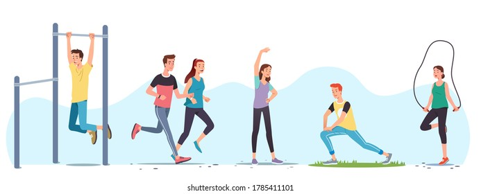Men & women athletes doing exercises & working out outdoors set. People training,  street workout equipment, jogging, stretching body, skipping rope. Sport, fitness & running. Flat vector illustration