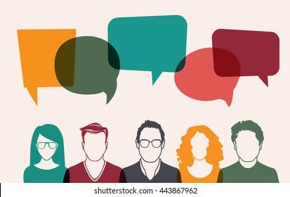 Men and women avatar profile picture set. Businessman, coworkers, team, think, Question. Idea, Brainstorm. Business concept vector illustration