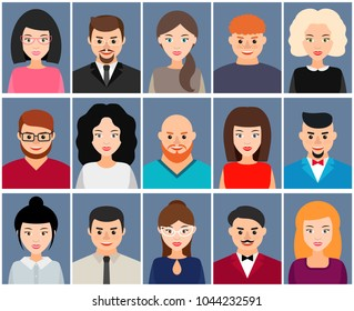 Men and women avatars, icon set. Male and female cartoon character. Vector flat illustration.