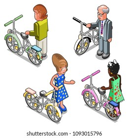 Men and women with bicycles (isometric illustration)