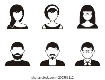 Men and women black icons on white background