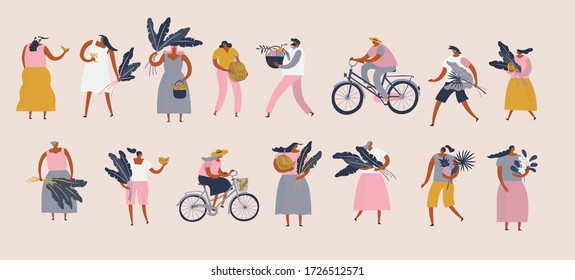 Men and women cartoon characters in flat style, with exotic tropical fruits flowers and banana leaves, vector illustration.