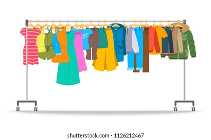 Men and women casual clothes on hanger rack. Flat style vector illustration. Male and female apparel hanging on shop rolling display stand. New fashion collection. Seasonal sale concept