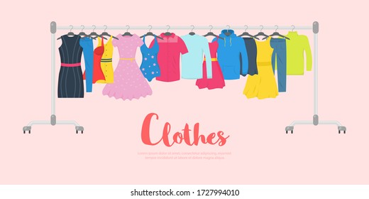 Men and women casual clothes on a hanger in store. New fashion collection. Clothes and accessories Fashion icon set. Seasonal sale concept. Vector illustration of a flat plane style. EPS 10.