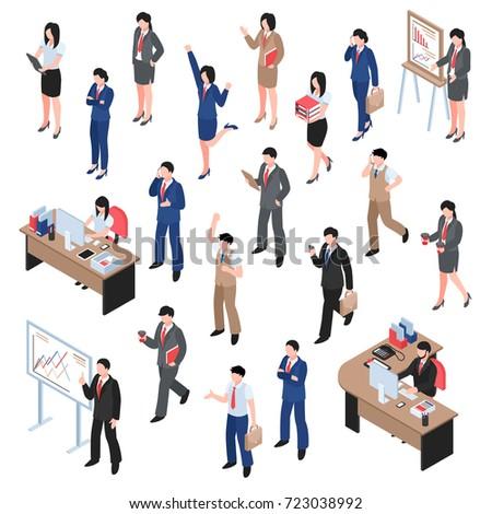 men women characters involved business isometric のベクター画像素材