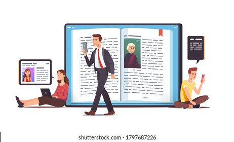 Men, women characters read digital books concept. People readers using mobile app to read literature on smart phone, tablet, laptop computer screen. Modern reading, education. Flat vector illustration