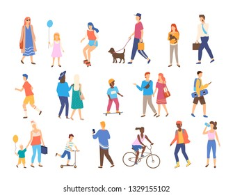 Men and women with children outside, outdoor activities vector. Walking and skateboarding, chracters with pets and businessman, riding bicycle and scooter