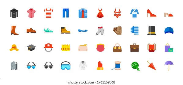 Men and women clothes vector icon set. Isolated all clothes, apparels, wears and accessories cartoon, flat style illustrations collection