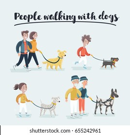 Men and women in clothes walking the dogs of different breeds, active people, leisure time.