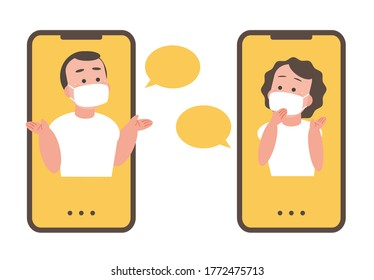 Men and women are communicating in an epidemic virus situation. With mobile phone