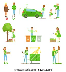Men And Women Contributing Into Environment Preservation By Using Eco-Friendly Energy And Recycling Illustrations From People And Ecology