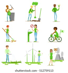 Men And Women Contributing Into Environment Preservation By Using Eco-Friendly Energy And Recycling Illustrations From People And Ecology Set