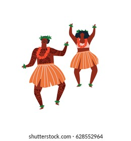 Men and women dancing Hula hawaiian dance illustration in vector.
