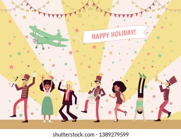Men and women dancing, a marching band of musicians playing instruments, people celebrating. Airplane in the sky holding a banner Happy Holidays. Flat vector illustration in cartoon style.