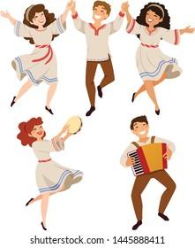 Men and women dancing traditional folk dances of Israeli and Balkan origins