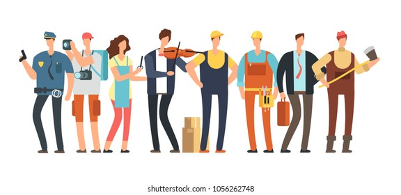 Men and women of different professions. Professional people group. Cartoon specialist and employee vector characters isolated. Workman and policeman, logger and photographer illustration