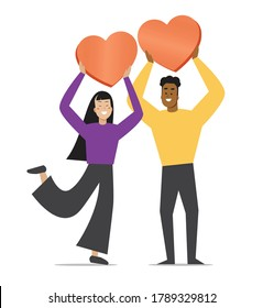 Men and women of different skin colors Holding a pink heart With happiness together - illustration vector Skin color diversity African men and Asian women Happy with love With a white background