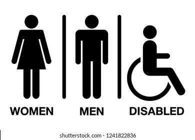 men and women disabled restroom signage set on white background for any used.
