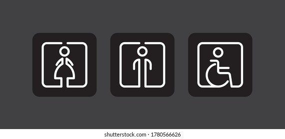 Men, women and disabled restroom toilet vector signs set.