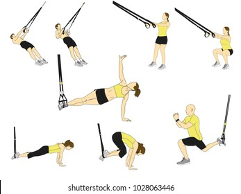 Men and women doing TRX exercises with ropes isolated on white background. Colored vector illustration.