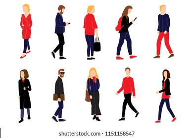 Men and women dressed in casual style walking and performing outdoor activities on city street. Some are holding smartphones. Cartoon colorful flat vector illustration isolated on white background