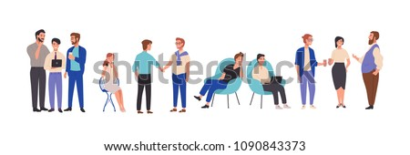 Men and women dressed in smart clothes take part in business meeting, formal discussion, conference. Male and female cartoon characters talk to each other, exchange information. Vector illustration