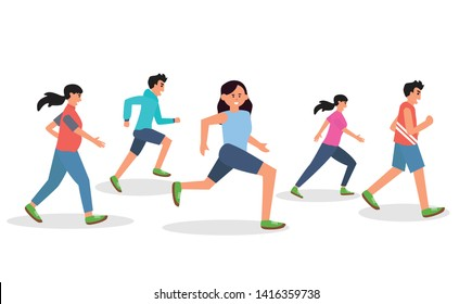 Men and women dressed in sports clothes running marathon race. Participants of athletics event trying to outrun each other. Flat cartoon characters isolated on white background. Vector illustration