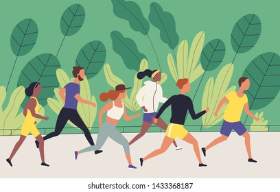Men and women dressed in sportswear jogging or running through park. Sports competition, outdoor workout or exercise, athletics. Healthy active lifestyle. Flat cartoon colorful vector illustration.