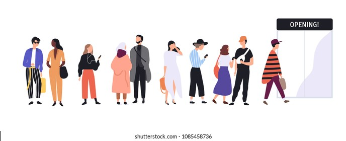 Men and women dressed in trendy clothes standing in line or queue in front of shop entrance doors. Stylish people waiting for store, boutique or showroom opening. Flat cartoon vector illustration