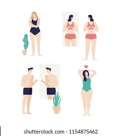 Men and women dressed in underwear looking in mirror and enjoying their bodies isolated on white background. Self-acceptance, satisfaction with appearance. Flat cartoon colorful vector illustration