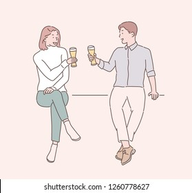 Men and women are drinking toast with a glass. hand drawn style vector design illustrations.