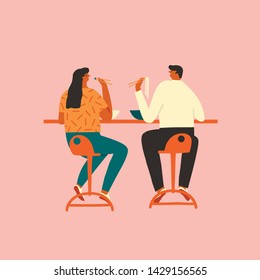 Men and women eat ramen and sushi together on date illustration in vector. People have lunch in asian restaurant.