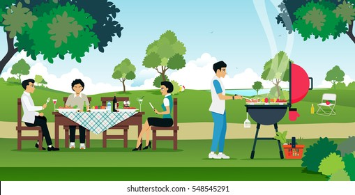 Men and women are enjoying a barbecue party.