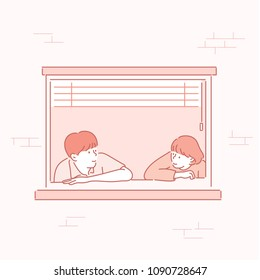 Men and women are facing each other at the window. hand drawn style vector doodle design illustrations.
