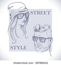Men and women fashion sunglasses. Hand drawing in a sketch style. Vector illustration.