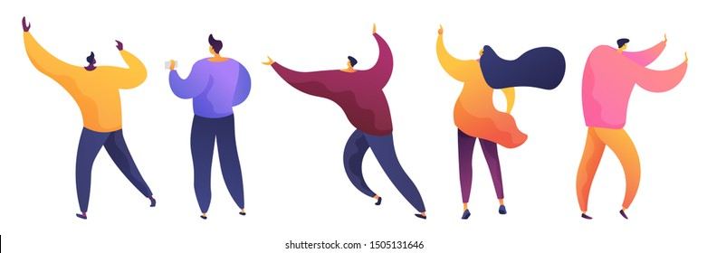 Men and women flat vector illustrations set. Male and female characters raising hands, running pack. Young student holding smartphone. Office workers. Girl pointing with finger isolated clipart