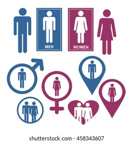 Men and Women Gender Signs and design elements vector set
