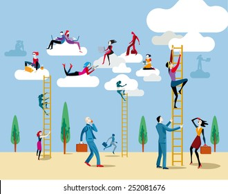 Men and women go up heaven by a ladders to access the cloud from which they work on line and share information and knowledge.