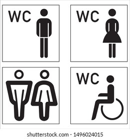 men, women and handicap restroom symbols vector