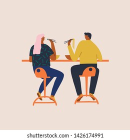 Men and women having lunch in street food cafe, eating ramen noodle soup and sushi and have a conversation illustration in vector. Trendy flat cartoon characters design.