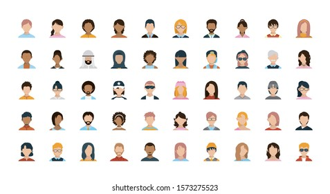Men and women heads set design, Boy male person people human social media and portrait theme Vector illustration