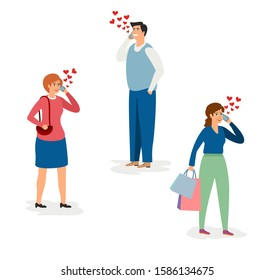 Men and women in love vector set. Distance love. Flat characters with smartphones. Adults communicate by phone. Valentines Day, love vector illustration