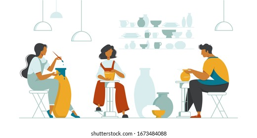 Men and women making clay pots, crockery and other ceramics at pottery workshop. Pottery studio, pottery hobby. Handcrafted earthenware. Ceramics. Colorful vector illustration in flat cartoon style