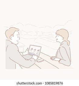 Men and Women Meets Business in an Outdoor Cafe. hand drawn style vector doodle design illustrations.