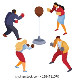 men and women in office clothes face each other a sports punching bag with boxing gloves, aggression, defense, attack, isolated object on a white background, vector illustration